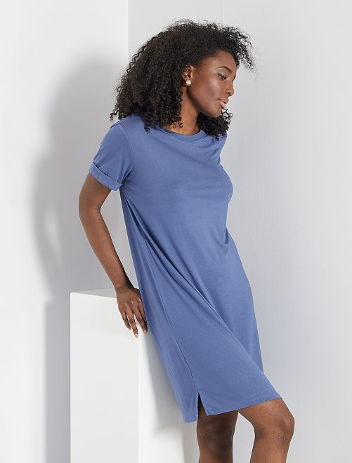 Vestido tipo camiseta de modal                                 azul índigo
