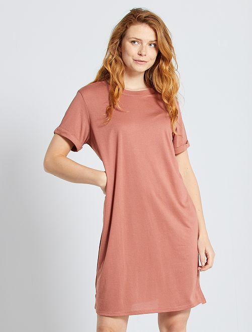 Vestido tipo camiseta de modal                                         fucsia
