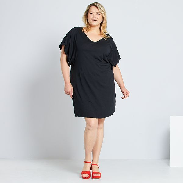 Vestido Tipo Camiseta Tallas Grandes Mujer Negro Kiabi 9 00