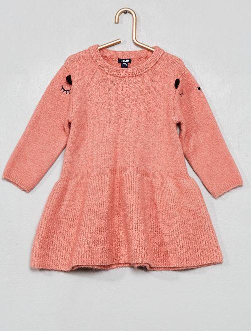 Vestido tipo jersey bordado                                                     ROSA