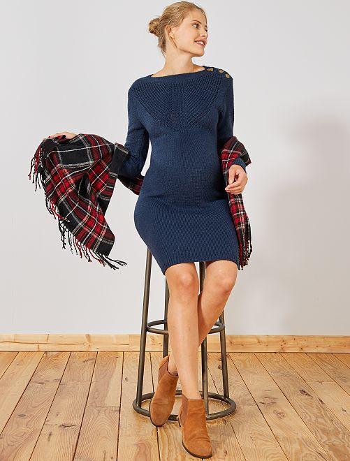 Vestido tipo jersey cálido de premamá                                                     azul