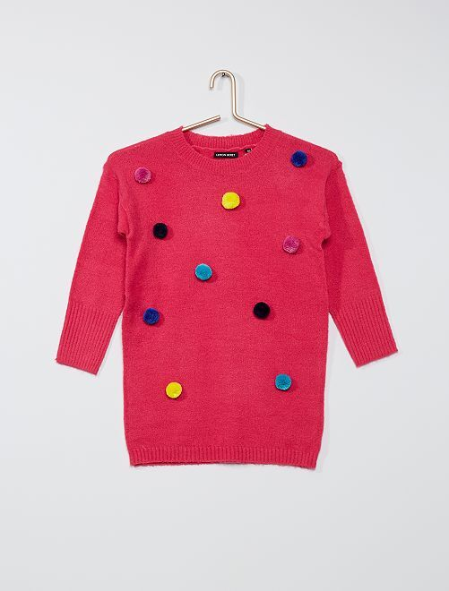 Vestido tipo jersey con borlas                                         ROSA