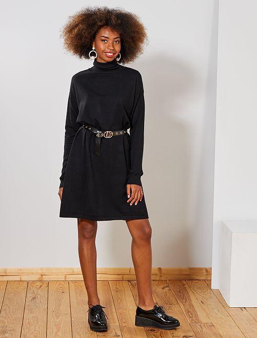 Vestido tipo jersey con cuello chimenea                                                                 negro Mujer talla 34 a 48
