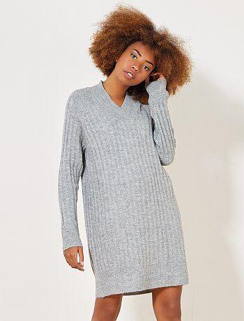 Mujer talla 34 to 48 - Vestido tipo jersey con cuello de pico - Kiabi