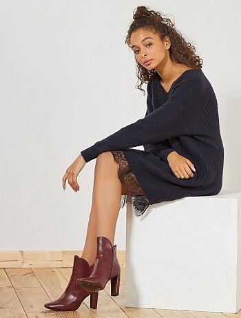 Mujer talla 34 to 48 - Vestido tipo jersey con encaje - Kiabi