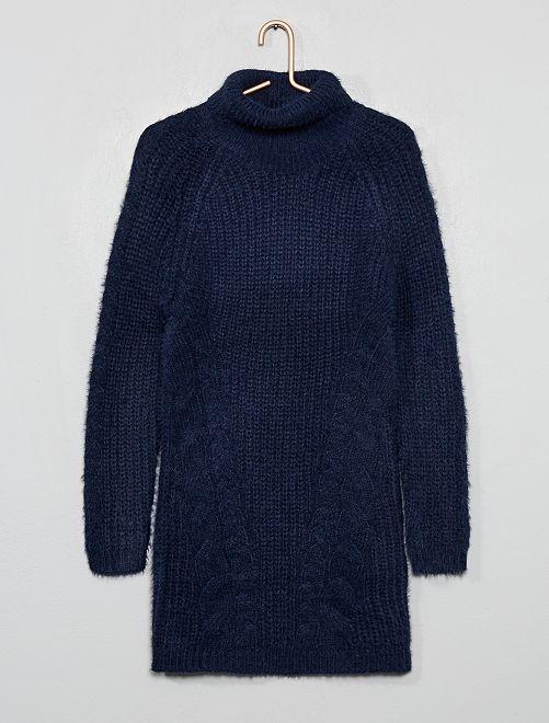 Vestido tipo jersey de cuello vuelto                                                     azul