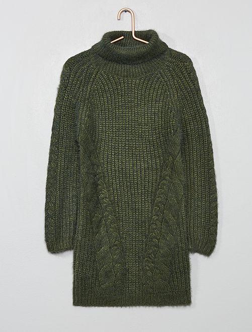 Vestido tipo jersey de cuello vuelto                                                     verde tomillo