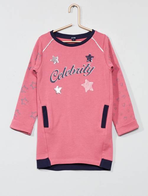 Vestido tipo jersey de felpa                     rosa Chica