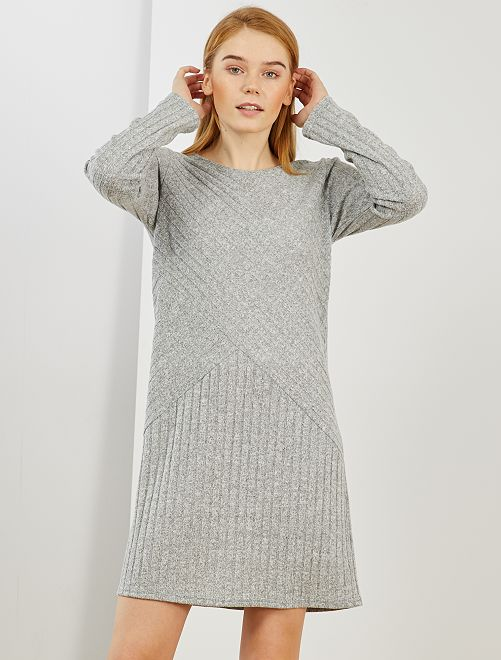 Vestido tipo jersey de punto de canalé                                         gris