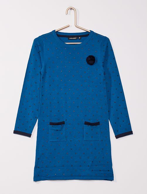Vestido tipo jersey de punto fino                                         azul