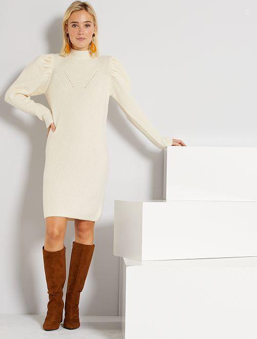 Vestido tipo jersey eco-concepción                                                     BLANCO