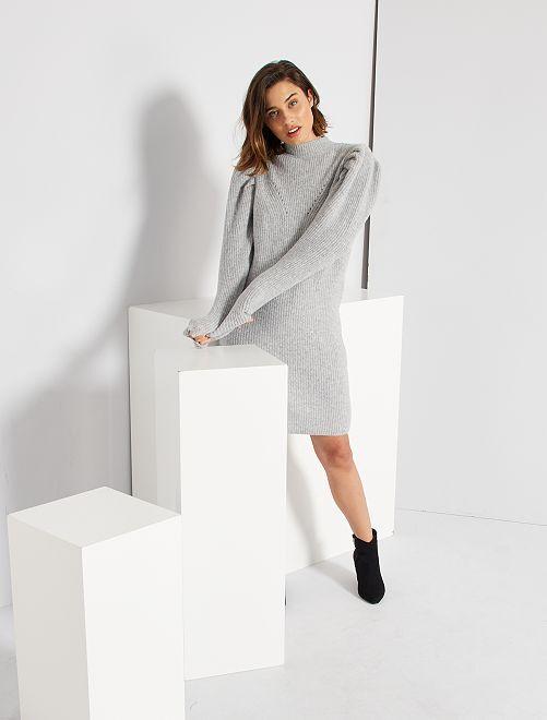 Vestido tipo jersey eco-concepción                                         GRIS