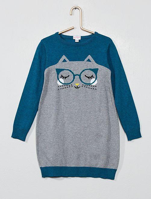 Vestido tipo jersey 'gato'                             GRIS Chica