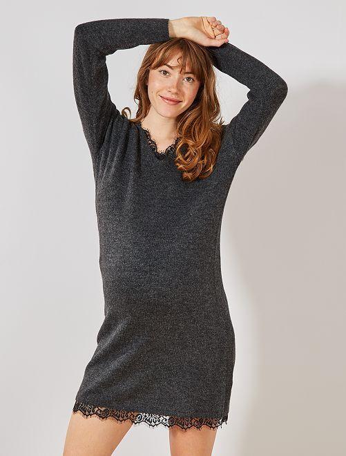 Vestido tipo jersey premamá                             GRIS