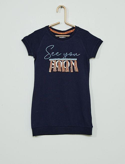 Vestido tipo jersey 'See you soon'                             azul marino