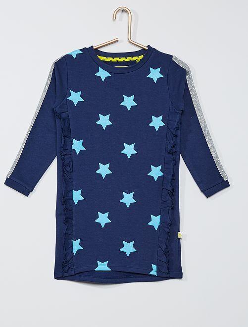 Vestido tipo sudadera 'estrellas'                             azul