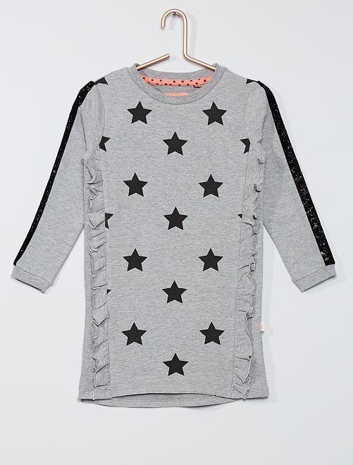 Vestido tipo sudadera 'estrellas'                                         gris