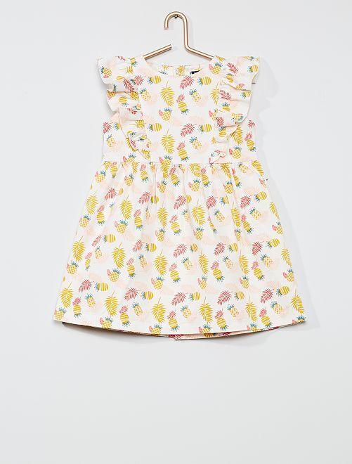 Vestido tropical de satén de algodón                                         BLANCO