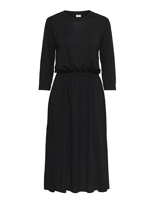 Vestido vaporoso con cintura elástica                                         negro