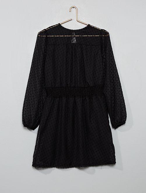 Vestido vaporoso con cintura fruncida                                         negro