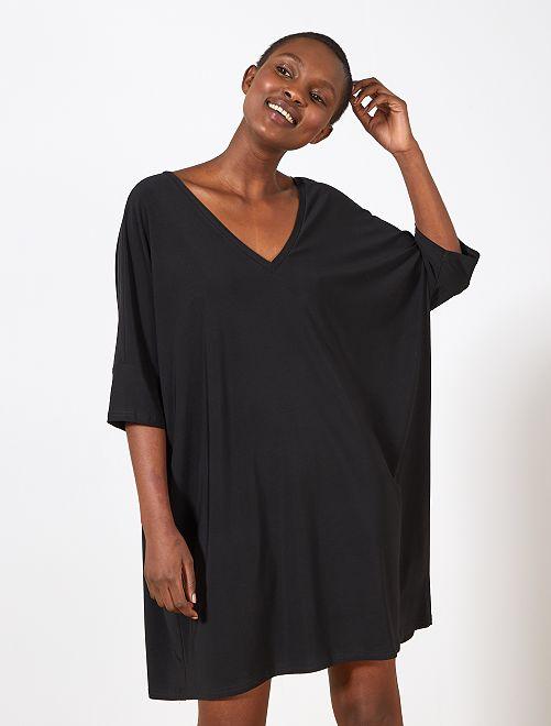 Vestido vaporoso con corte loose                             negro Mujer talla 34 a 48