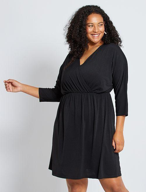 Vestido vaporoso con cuello cruzado                                         negro