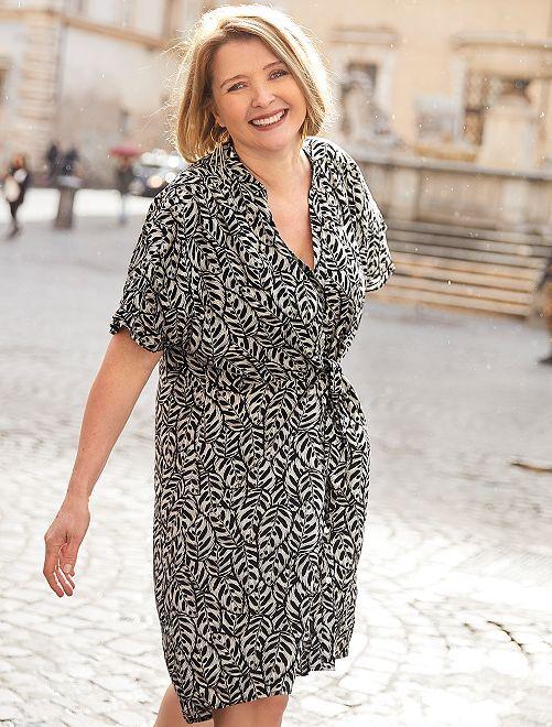Vestido vaporoso con estampado de 'hojas'                             NEGRO Mujer talla 34 a 48