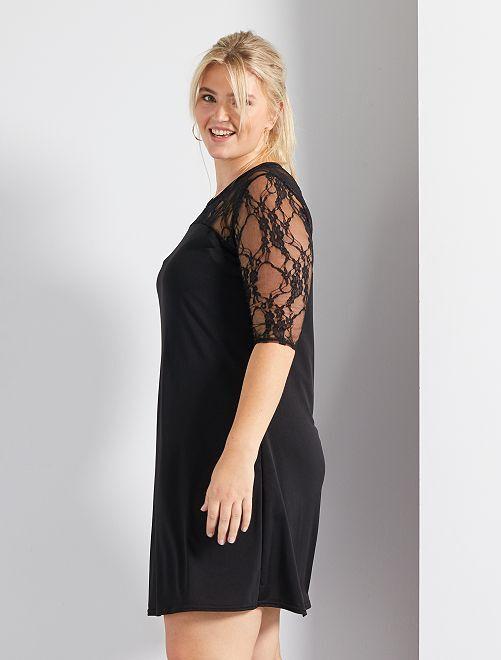 Vestido vaporoso con mangas de encaje Tallas grandes mujer - negro ...