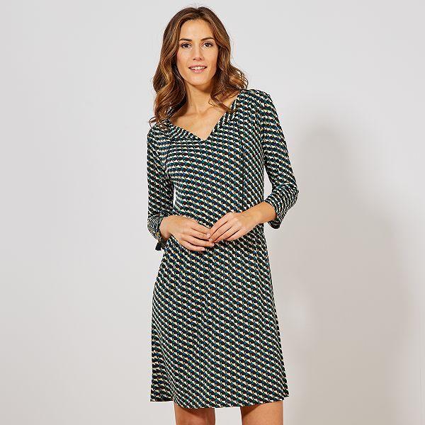 Vestido Vaporoso Con Motivos Geométricos Mujer Talla 34 A 48