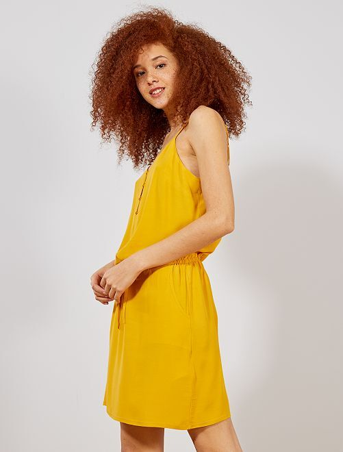 Vestido vaporoso con tirantes finos ajustables                                                                                                     AMARILLO Mujer talla 34 a 48