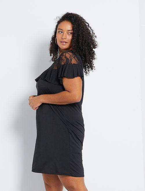 Vestido vaporoso con volantes y encaje Tallas grandes mujer - negro ...