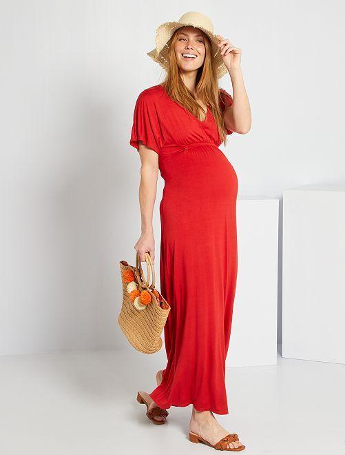 Vestido vaporoso de premamá                                                     rojo bombero
