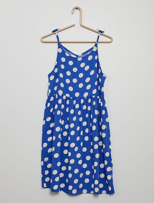 Vestido vaporoso estampado                                                                 azul