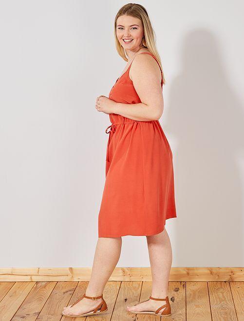 Vestido vaporoso estampado 'lunares'                                                     rojo cereza Tallas grandes mujer