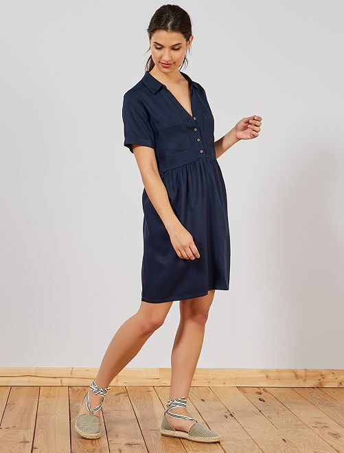 75ef6f66e55 Vestido vaporoso estilo babydoll Mujer talla 34 a 48 - AZUL - Kiabi ...