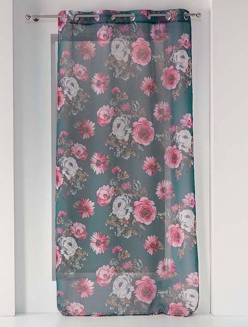 Visillo de flores                             NEGRO