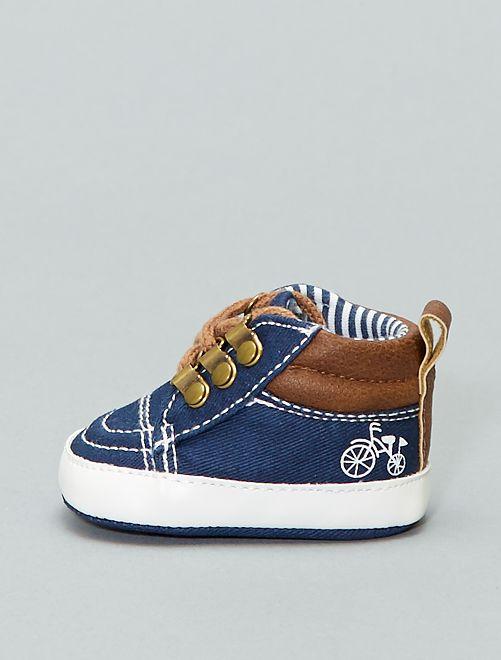 Zapatillas altas de dos materiales                             azul Bebé niño