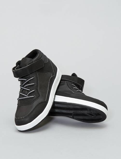 Zapatillas altas de malla y polipiel                             negro Zapatos