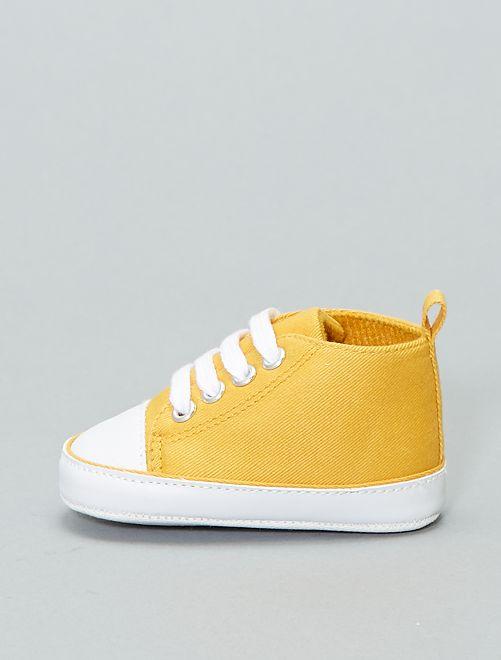 Zapatillas altas de tela                                                                                         amarillo Bebé niño
