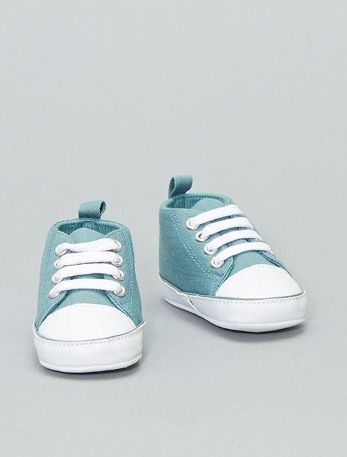 Zapatillas altas de tela                                                                                                                             azul verde Bebé niño