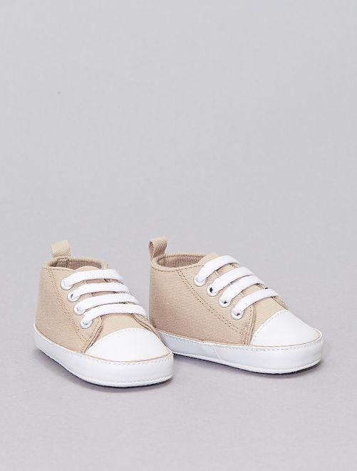 Zapatillas altas de tela                                                                                                     BEIGE