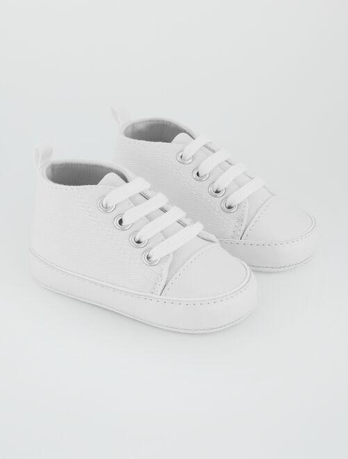 Zapatillas altas de tela                                                                                         blanco Bebé niño