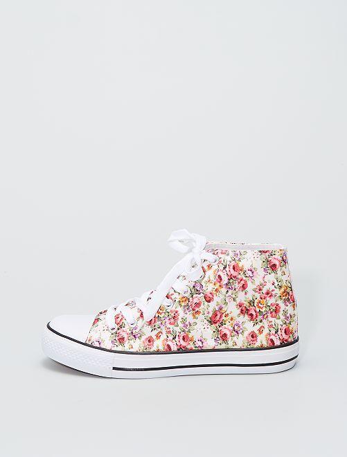 Zapatillas altas de tela                             blanco