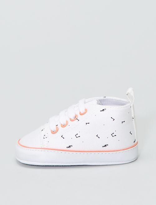 Zapatillas altas de tela estampadas 'flores'                                                     BLANCO