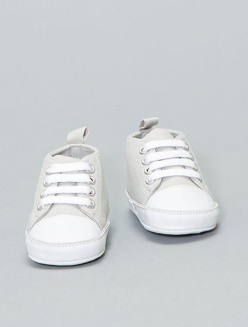 Zapatillas altas de tela                                                                                         gris claro Bebé niño