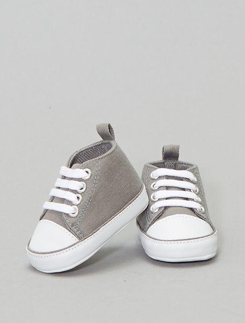 Zapatillas altas de tela                                                                                         gris ratón Bebé niño