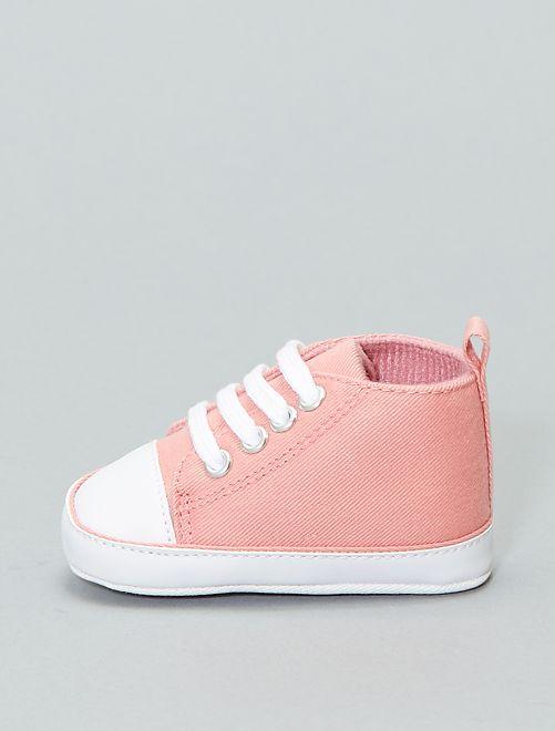 Zapatillas altas de tela                                                                                         rosa Bebé niño