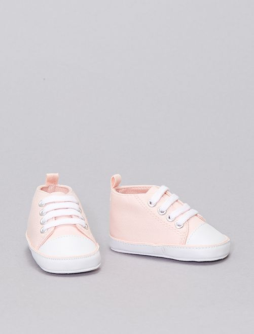 Zapatillas altas de tela                                                                                                                 rosa