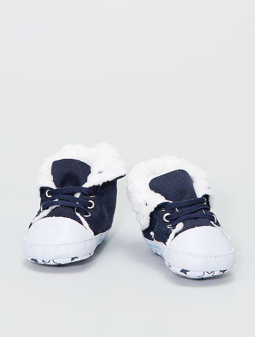 Zapatillas altas forradas de tela                                                     AZUL