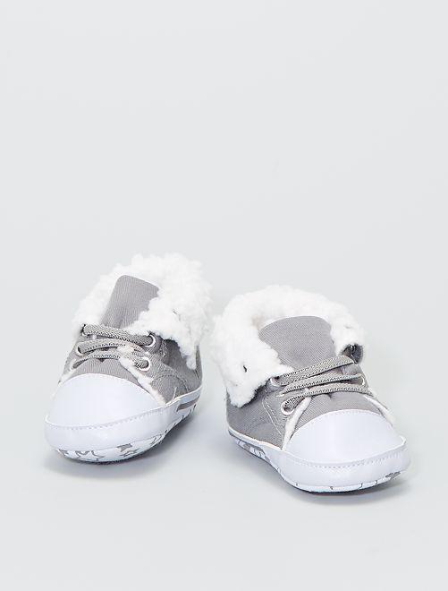 Zapatillas altas forradas de tela                                                     gris
